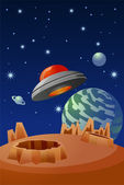 Alien flying saucer in outer space — Stock Photo