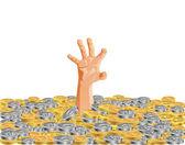 Hand under coins — Stock fotografie