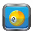 Nine billiard ball in square button design — Stock Photo