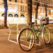 Bicycle on the street in the night — Stock Photo