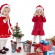 Two happy santa helpers — Stock Photo