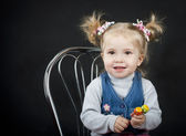 Portrait of little girl with — Stock Photo