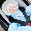 Newborn sleeping in the car seat — Stock Photo