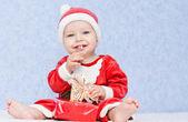Cute baby boy santa helper — Stock Photo