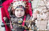Adorable bebé en un cochecito — Foto de Stock
