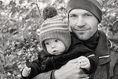 Happy father and his baby son — Foto Stock