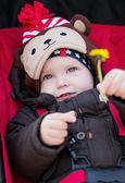 Happy baby boy in a stroller — Fotografia Stock