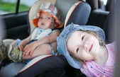 Playful children in the car — Stock Photo