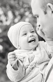 Happy toddler boy and father — Foto Stock