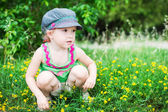 Cute little girl playing in the park — Foto Stock