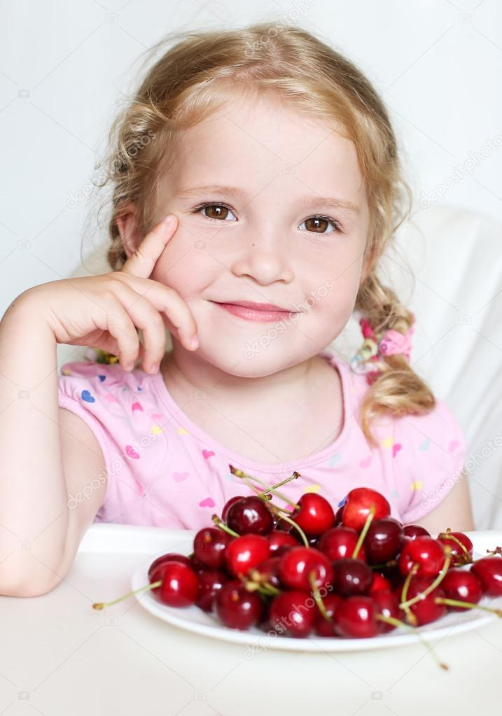 Cute Cherries Background Cute Little Girl Eating Cherries on White Background Photo by Marchibas