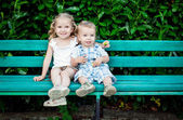 Funny little children brother and sister — Stock Photo