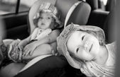 Playful children in the car — Photo