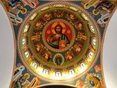 Decorated ceiling from a Orthodox church — Stock Photo