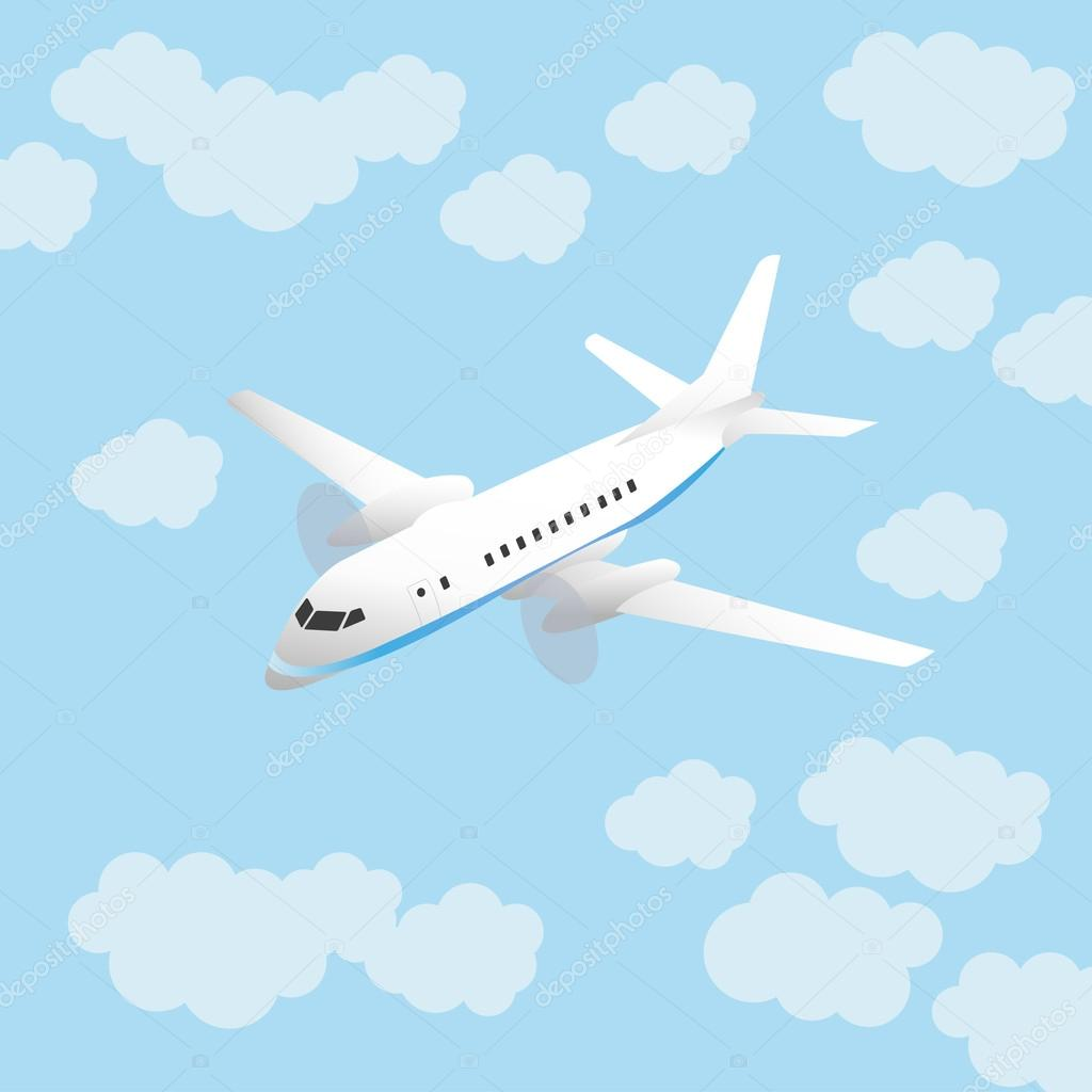 Illustrations with a white aircraft in the sky with clouds — Stock Vector #16856869