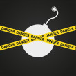Vector illustration danger tape explosive — Stock Vector