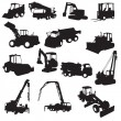 Silhouette of construction machines - Stock Vector