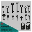 Vector illustration silhouette of keys and locks — Stock Vector