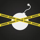 Vector illustration danger tape explosive — Stock Vector