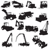 Silhouette of construction machines — Stock Vector