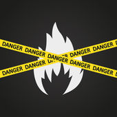 Vector illustration danger tape flammable — Stock Vector