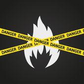 Vector illustration danger tape flammable — Stock Vector