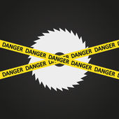 Vector illustration danger tape harp circular saw — 图库矢量图片