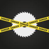 Vector illustration danger tape harp circular saw — Stock Vector