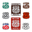 Stock Vector: Route 66 sign set