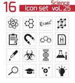 Vector black science icon set — Stock Vector