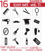 Vector black barber icon set — Stock Vector