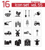 Vector black farming icons set — Stock Vector