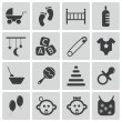 Vector black baby icons set — Stock Vector