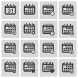 Stock Vector: Vector black calendar icons set