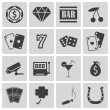 Vector black casino icons set — Stock Vector