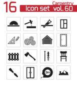 Vector black carpentry icons set — Stock Vector