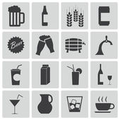 Vector black beer and beverage icons set — Stock Vector