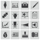 Vector black business icons set — Stock Vector