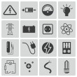 Vector black electricity icons set — Stock Vector