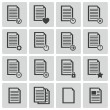 Stock Vector: Vector black document icons set