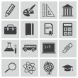 Vector black education icons set — Stock Vector