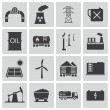 Vector black industry icons set — Stock Vector #30917067