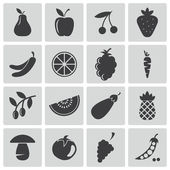 Vector black food icons set — Stock Vector