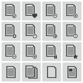 Conjunto de iconos de documento vector negro — Vector de stock
