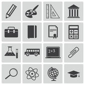 Vector black education icons set — Stockvektor