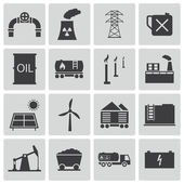 Vector black industry icons set — Stock Vector