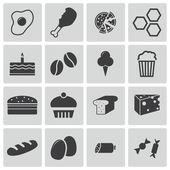 Vector zwarte voedsel icons set — Stockvector