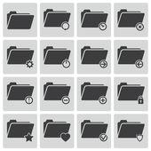 Vector black folder icons set — Stock Vector