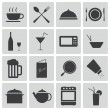 Stock Vector: Vector black food icons set