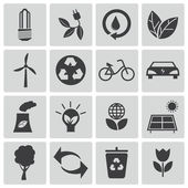 Vector black eco icons set — Stock Vector